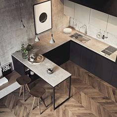50 Cozy Small Kitchen Design Ideas On A Budget. Are you stuck with a small kitchen but you have some big ideas? Do you have kitchen envy and you wish that you had the counterspace and floor space that. Home Interior, Kitchen Interior, New Kitchen, Kitchen Decor, Kitchen Small, Kitchen Black, Small Kitchen Designs, Interior Design, Apartment Interior