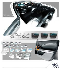 Fiat Toro - Interior Design Sketch Renders by Bruno Said