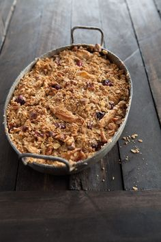 Apple-Cranberry Crisp. William Sonoma says: Recipe of the Day: The beauty of this rustic dessert is how easy it is to pull together. Make an extra batch of topping & freeze it – you'll be ready at a moment's notice to bake up another!