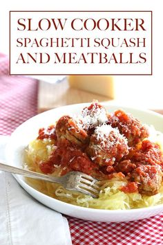 Need a healthy, easy meal that doesn't take much prep work? Toss some spaghetti squash and some frozen meatballs in your slow cooker and bam. Insta-dinner.