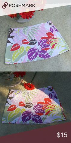 "Tropical Print Swim skirt Bathing suit material. Skirt only.  13"" top to bottom. 16"" across laid flat Swim"