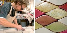 Alex at work in his studio; Scale mosaic of coloured glazes and lustres