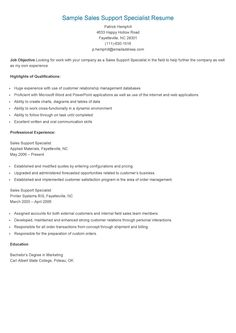 Sample Sales Support Specialist Resume  Quality Assurance Specialist Resume