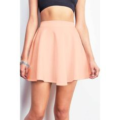 Pink Ice Flared Scuba Skirt ($15) ❤ liked on Polyvore featuring skirts, pink, red skater skirt, pink skater skirt, stretch skirt, flared skirt and red flare skirt