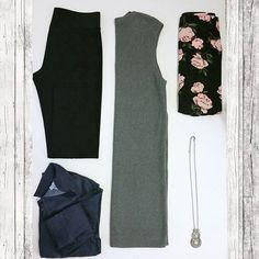 Our Thursday #OOTD! Inside a subscriber's StyleBox #3! These are great options for women who love #classic, #simple, & #feminine pieces for the fall! #style #denim #clothes #black #ellentracy #jcrew #live4truth #guess #francescas #ladiesstylebox