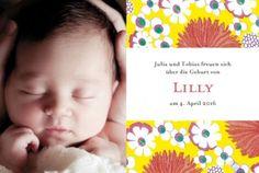 Geburtskarte Sommerglück by Marion Bizet für Geburtskarten.com #babykarte #blumen #foto