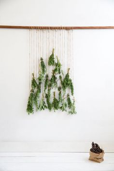 Alternative Christmas tree ideas for small spaces and tiny apartments. Hanging herbs