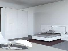 Dormitorio blanco, estilo minimalista / moderno en lacado color blanco. Detalles en acero inoxidable.