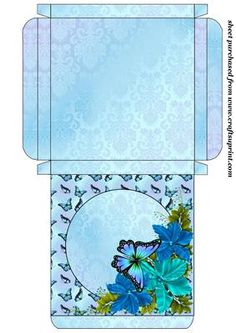 """Blue floral butterfly card box,the box measures 4.5""""x4.5x0.5 aprox"""