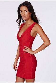 Missguided - Leena Bandage Bodycon Dress In Red