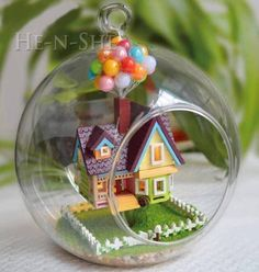 DIY Wooden Dollhouse Miniature Hanging Glass House Flying Cabin Destiny B006