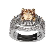 Sasha, Champagne Engagement Wedding Ring and Band Set
