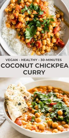 This coconut chickpea curry is the ultimate weeknight dinner Delicious and packed with flavor this comfort meal is made with easy pantry ingredients and comes together in less than 30 minutes realandvibrant chickpeacurry coconutchickpeacurry Tasty Vegetarian Recipes, Vegan Dinner Recipes, Vegan Dinners, Veggie Recipes, Indian Food Recipes, Whole Food Recipes, Cooking Recipes, Healthy Recipes, Vegan Chickpea Recipes