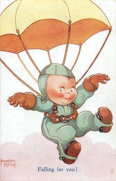 Beatrice Mallet, Vintage Oilette Postcard 1935 - Cute Kiddies Set