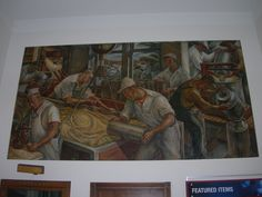"Plymouth Wisconsin Post Office Mural   New Deal mural entitled ""Making Cheese"" painted by Charles W. Thwaites in 1942. He also painted..."