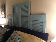 DIY Repurposed Shutter Headboard with weathered look