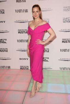 b05d555daa51 Amy Adams Attends American Hustle Party Hot Pink Dresses