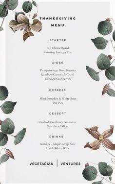 Vegetarian Thanksgiving Menu /