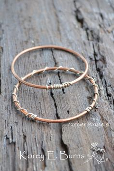 Boho Bracelets // Copper Bangles //  Rustic Western Jewelry // Handmade by Korey Burns on Etsy, $15.00