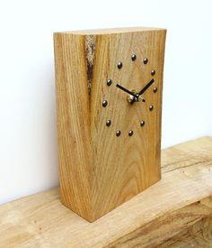 Elm Mantel Clock with Antique Studs