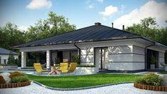 Projekt domu Z378 Parterowy dom z garażem dwustanowiskowym. House Outside Design, Simple House Design, Modern House Design, Home Building Design, Building A House, 4 Bedroom House Designs, Casa Top, House Plans Mansion, Spanish Style Homes