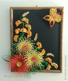 Картина панно рисунок Квиллинг Весенний букетик в корзине  Бумажные полосы фото 2