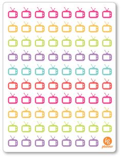 TV Icons for Erin Condren Planner, Filofax, Plum Paper