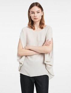Image for platinum silk symmetric top from Calvin Klein