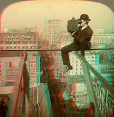 "https://flic.kr/p/7MeV9Q | Stereo Photographer Above 5th Avenue, New York anaglyph3D | ANAGLYPH, conversion of original card stereoview in my collection.  ""#8288 Photographing New York City-on a slender support 18 stories above pavemant of Fifth Avenue"" copyright 1905 Underwood and Underwood  This image views in 3D when wearing RED/CYAN 3D glasses.  More images of this type can be found by searching ""anaglyph"".  The original stereoview is here:  www.flickr.com/photos/dept..."