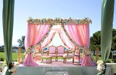 Baby pink mandap decor for a day wedding! Gorgeous flowers and set up! LOVE it! #weddingtheme #pink #white #indianwedding