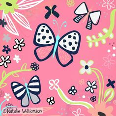 Running on a few hours sleep (don't ask) but enjoying this chunky enchanted garden collection that's coming together  Don't forget to check out my #foliofocus extravaganza that's starting soon (link in profile). Lots of fun and creative umph! #dowhatyoulove #risedesignandshine #happyplace #designgroove #vectorart #butterflies #wrappingpaper #giftwrap #enchantedgarden #flowers #plants