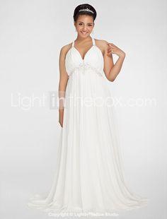gaine / colonne v-cou balayage / pinceau train de robe de mariée en mousseline de soie, plus la taille - € 250.43