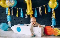 Первый детский день рождения / Ракета из картонных коробок /Космический день рождения / воздушные шары / первый тортик/ First birthday / rocket party / Smash cake session / spaceship / balloons / birthday party / space inspiration / photo session with children