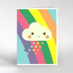 Dicky Bird - cloud and rainbow card