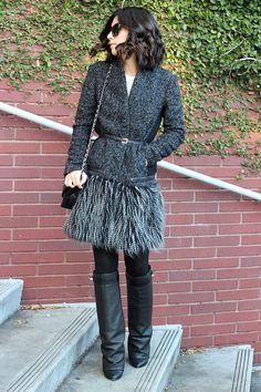 Jacket: Maje; Tights: Target; Boots: Givenchy; Bag: Chanel; Sunglasses: Elizabeth & James