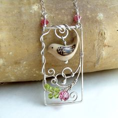 Necklace Bird in a Garden Sterling, Hand Carved Wood and Crystal