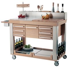 Genius! There is a place for everything. Mobile kitchen for indoors and out.