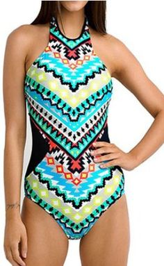I love that this modest swimsuit is still stylish and cute. High Neck Shaping One Piece Swimsuit