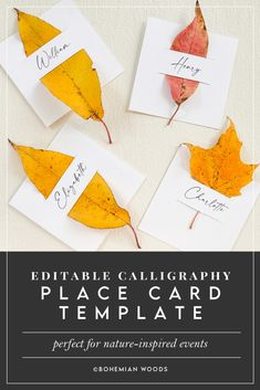 Nature Inspired Place Card Template