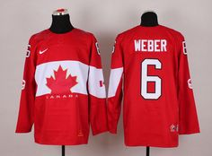 Team Canada 6 Shea WEBER 2014 Winter Olympics Jersey - Red