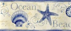 Sand Dollar Wallpaper Border by Brewster , Dark Blue and Off White Island Bay Seashell Border