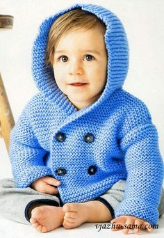 Double-breasted jacket with hood Baby Boy Knitting, Knitting For Kids, Mens Winter Sweaters, Baby Boy Cardigan, Crochet Coat, Crochet For Boys, Double Breasted Jacket, Ethical Clothing, Handmade Clothes