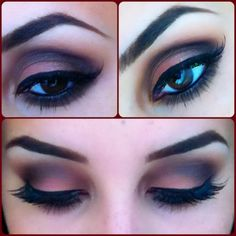 Dark red and brown smokey look