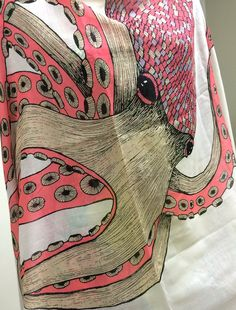 Women's Fabulous Octopus Print Fashion Scarf with Pom Pom Trim at Amazon Women's Clothing store: Fashion Scarves