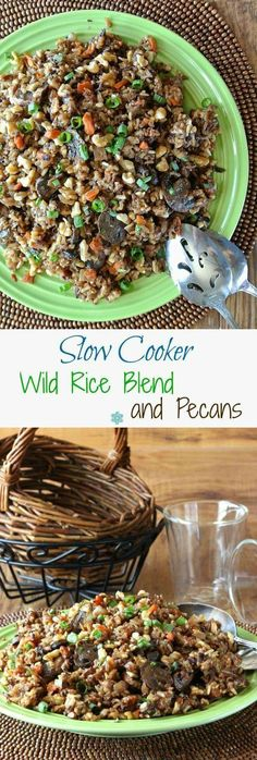 Slow Cooker Wild Rice Blend Recipe with Pecans is simple to make in the crock pot. Grains, nuts and veggies are all combined for a special side dish.