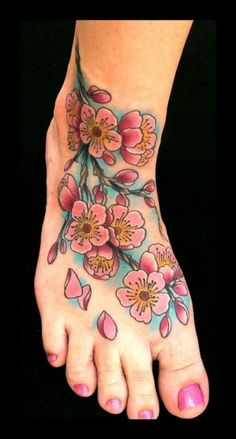 Pink Cherry Blossom Tattoo On Foot