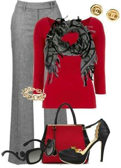 red and gray — A good business casual look