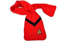 Star Trek Red Engineering Fleece Appliqued Scarf.