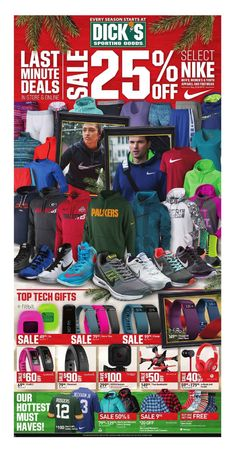 Find the latest weekly circular ad & Sunday flyer for Dick's Sporting Goods here. Also, save with coupons and the latest deals from Dick's Sporting Goods.