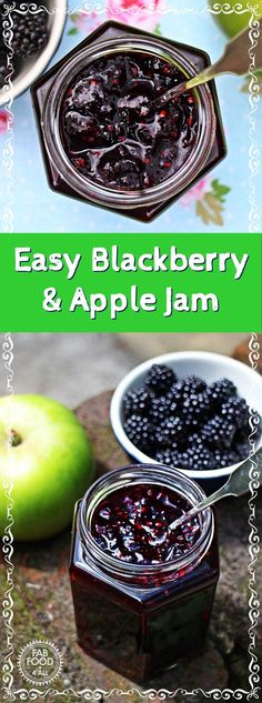 Easy Blackberry & Apple Jam - Fab Food 4 All #blackberry #apple #jam #preserve #masonjar #canning
